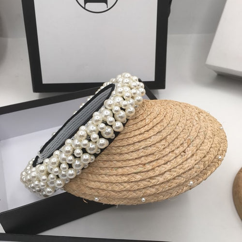 Straw Visor With Pearls - BEYAZURA.COM