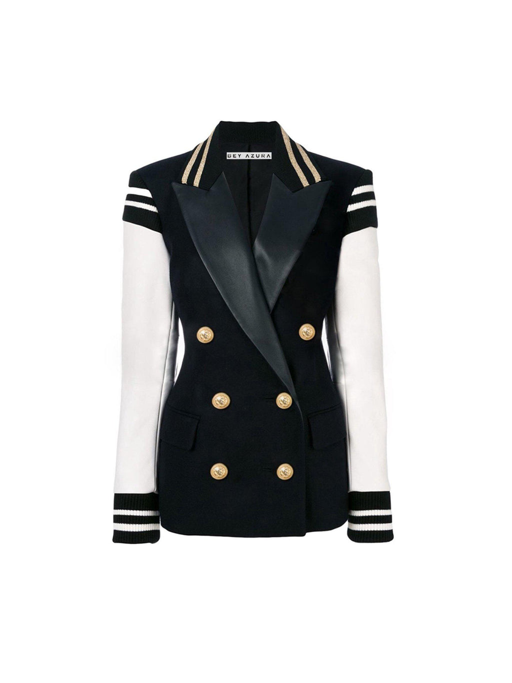 BLACK AND WHITE DOUBLE BREASTED BLAZER - BEYAZURA.COM