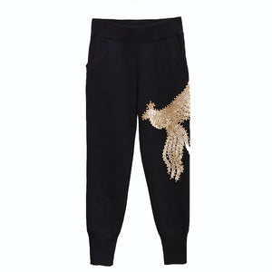 Two Piece Loungewear With Bird Gold Beadings - BEYAZURA.COM
