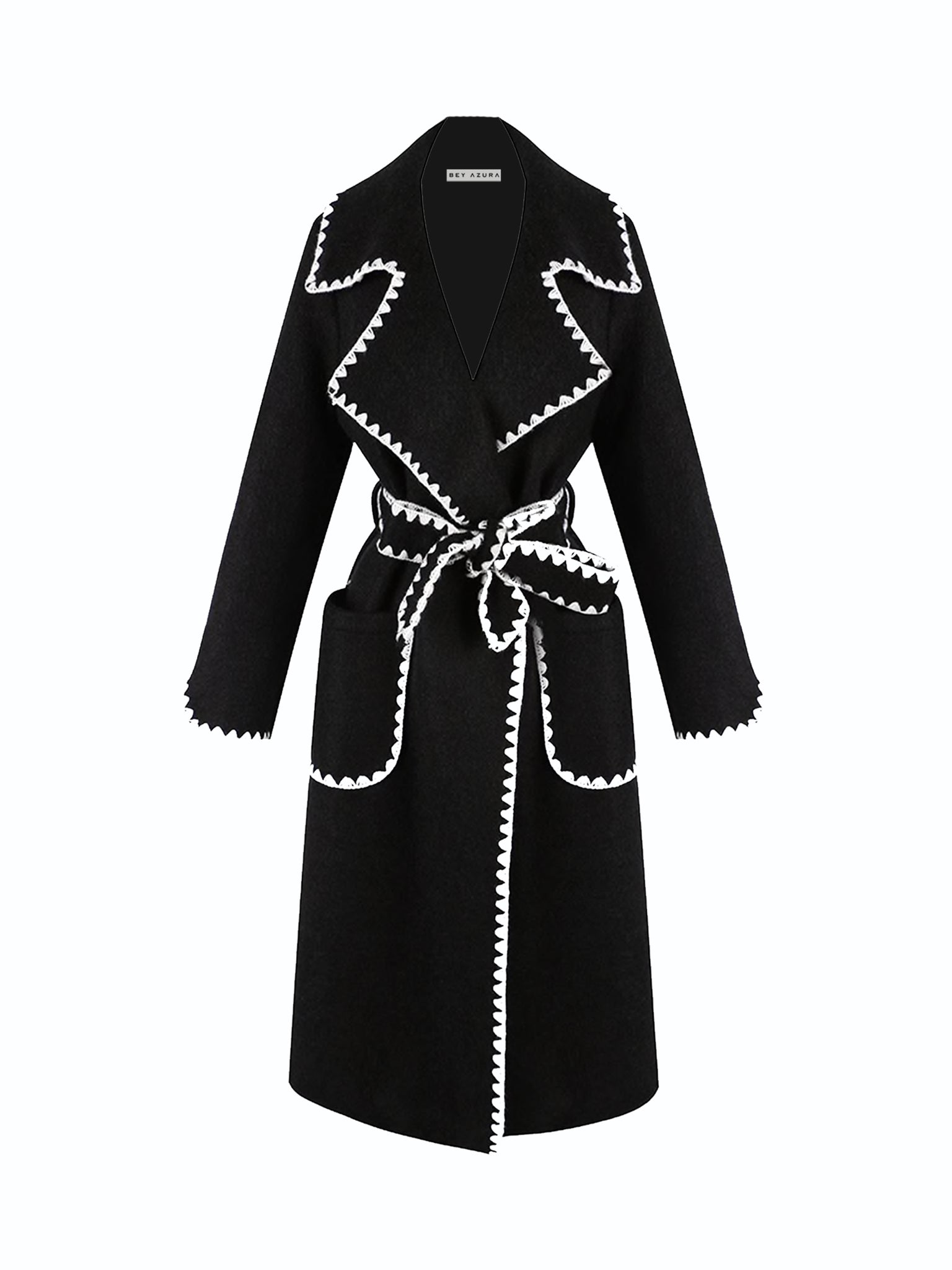 Midi Trench Coat With Contrast Edges - BEYAZURA.COM