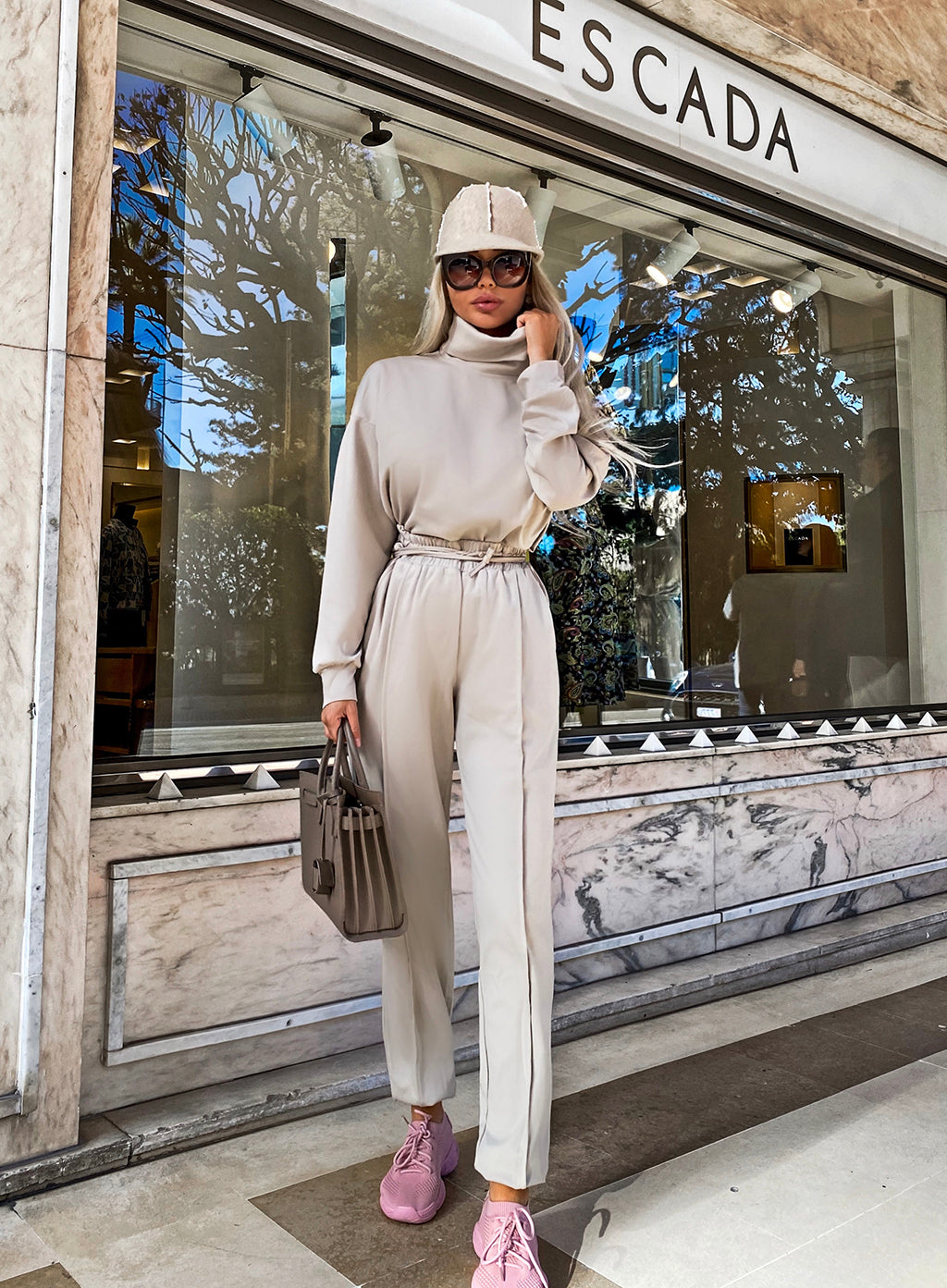 Two Piece High Neck Pullover And Pants Set - BEYAZURA.COM