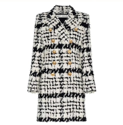 Black and White Tweed Long Blazer Coat - BEYAZURA.COM