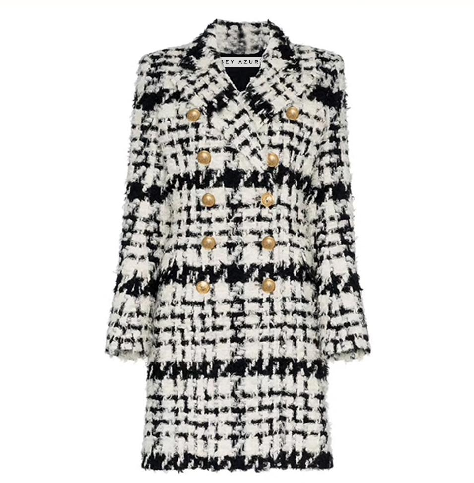BLACK AND WHITE TWEED LONG COAT WITH GOLD BUTTONS - BEYAZURA.COM