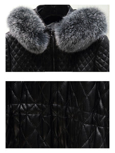 Black Long Leather Coat With Fox Fur Hoodie - Beyazura.com