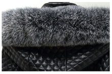 Load image into Gallery viewer, Black Long Leather Coat With Fox Fur Hoodie - Beyazura.com