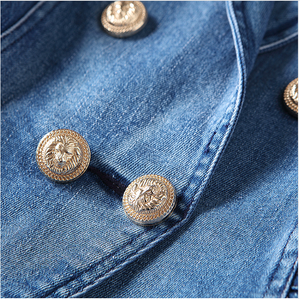 Double Breasted Denim Blazer With Gold Buttons - BEYAZURA.COM