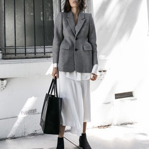 Gray Tailored Plaid Blazer Dress - Beyazura.com