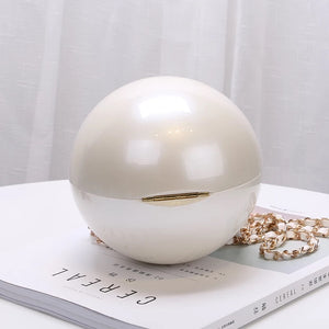 Pearl Inspired Round Evening Clutch - BEYAZURA.COM