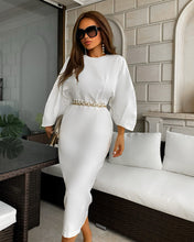 Load image into Gallery viewer, White Batwing Quarter Sleeve Midi Dress - BEYAZURA.COM