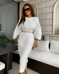 White Batwing Quarter Sleeve Midi Dress - BEYAZURA.COM