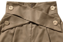 Load image into Gallery viewer, Brown High Waisted Ruched Gold Button Pants - BEYAZURA.COM