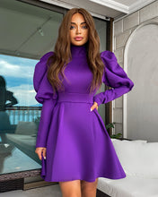 Load image into Gallery viewer, Exaggerated Shoulder Long Sleeve Flared Skirt Dress - BEYAZURA.COM