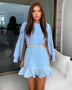 Ribbed Knit Flared Hem Bodycon Dress and Cardigan Two Piece Set in Blue - BEYAZURA.COM