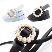 Load image into Gallery viewer, Vegan Leather Mini Round Pearl Golden Buckle - BEYAZURA.COM
