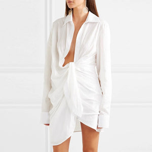 Long Sleeve Ruched Skirt Shirt Dress - BEYAZURA.COM