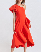 Load image into Gallery viewer, One Shoulder Ruffle Midi Dress - BEYAZURA.COM