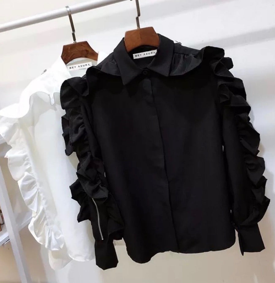 Ruffle Long Sleeve Button Down Shirt - BEYAZURA.COM