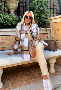 Thick Woven Plaid Loose Shirt - BEYAZURA.COM