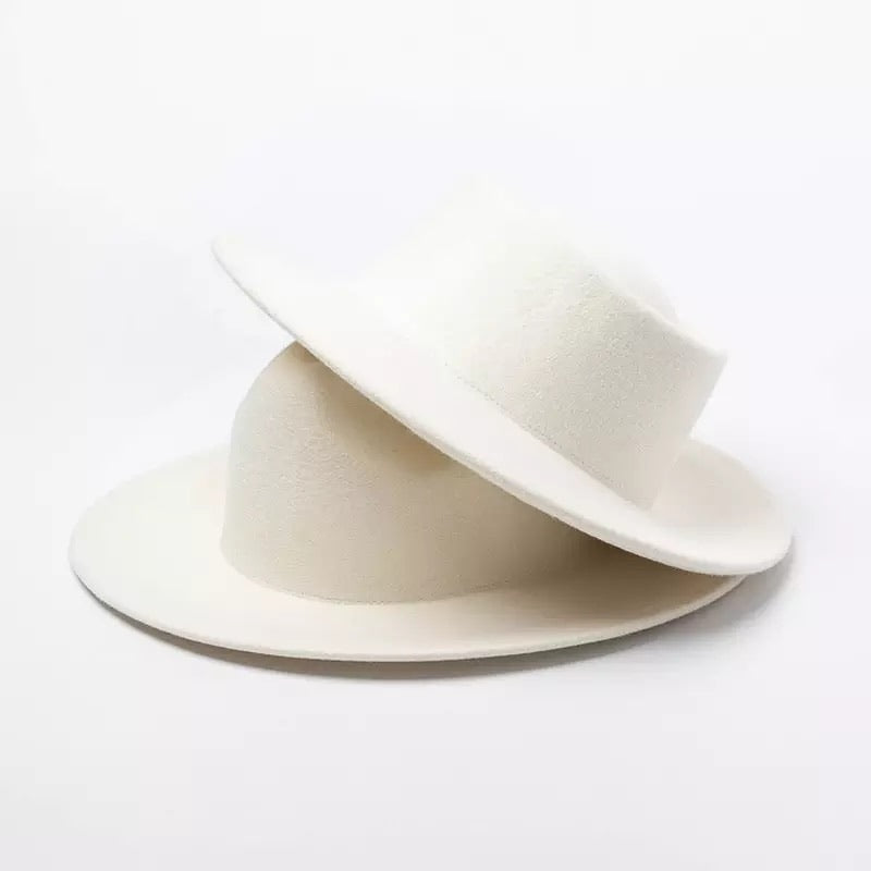 Genuine Australian Wool Felt Hats In Ivory - BEYAZURA.COM