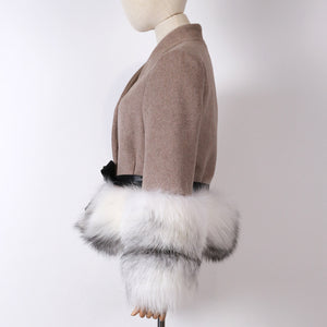 Cashmere Jacket with Dusty White Fox Fur Trim Leather Waist Tie - BEYAZURA.COM