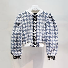Load image into Gallery viewer, Houndstooth Ruched Sleeve Mesh Bomber Jacket - BEYAZURA.COM