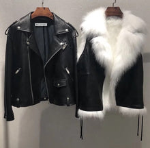 Load image into Gallery viewer, Sheepskin Leather Biker Jacket With Fox Fur Vest Lining - BEYAZURA.COM