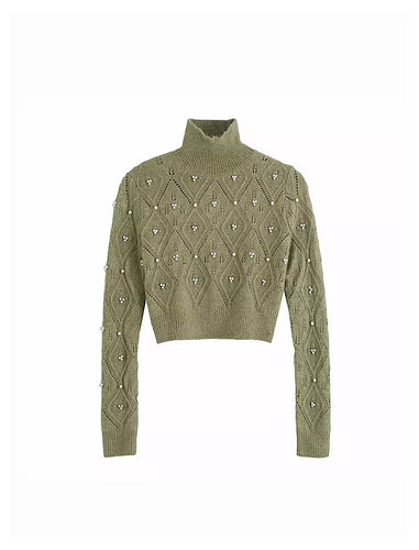 Green Turtleneck Short Sweater With Pearl Beads - BEYAZURA.COM