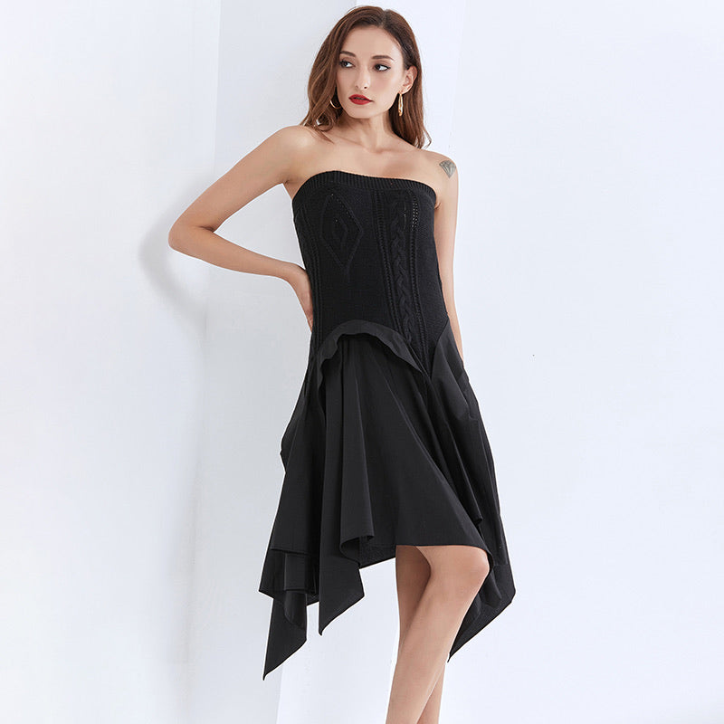 Strapless Knit Irregular Skirt Dress in Black - Beyazura.com
