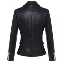 Load image into Gallery viewer, PU Leather Golden Trim Blazer - BEYAZURA.COM