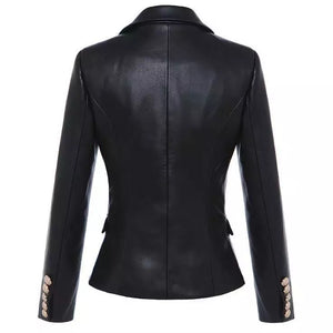 PU Leather Golden Trim Blazer - BEYAZURA.COM