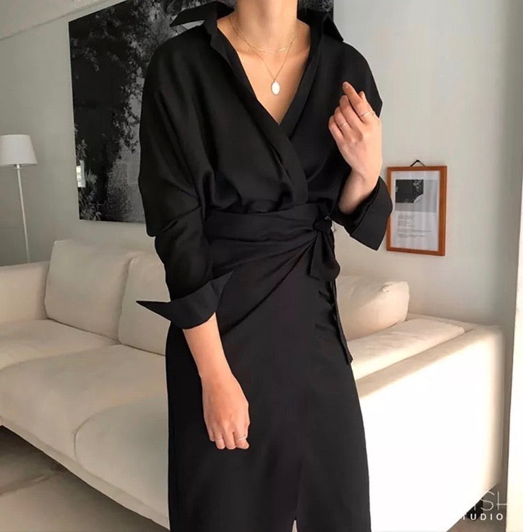 Midi Low Neck Wrap Dress - BEYAZURA.COM