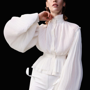 Ruched High Neck Lantern Sleeve Crinkled Shirt - Beyazura.com