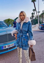 Load image into Gallery viewer, Goose Down Denim Coat With Fox Fur Trims - BEYAZURA.COM