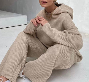 Hoodie Long Sleeve Top And Trouser Two Piece Knit Set - BEYAZURA.COM