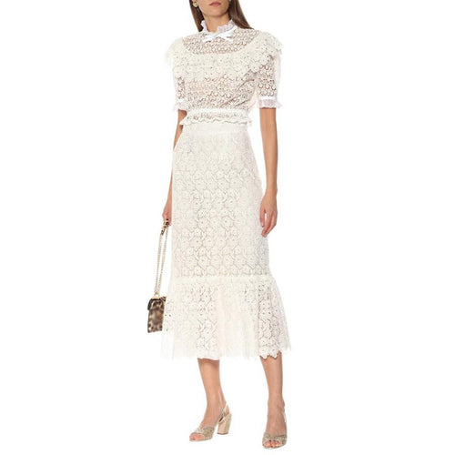 Lace Embroidery Midi Skirt and Top Two Piece Set - Beyazura.com