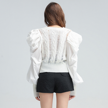 Load image into Gallery viewer, Big Ruched Shoulder Knitted Sweater - BEYAZURA.COM
