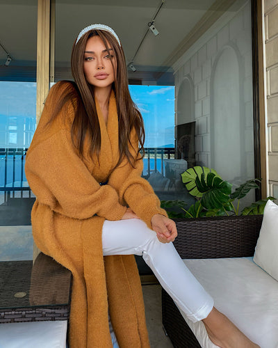 Maxi Mohair Faux Mink Cashmere Oversized Cardigan in Brown - BEYAZURA.COM
