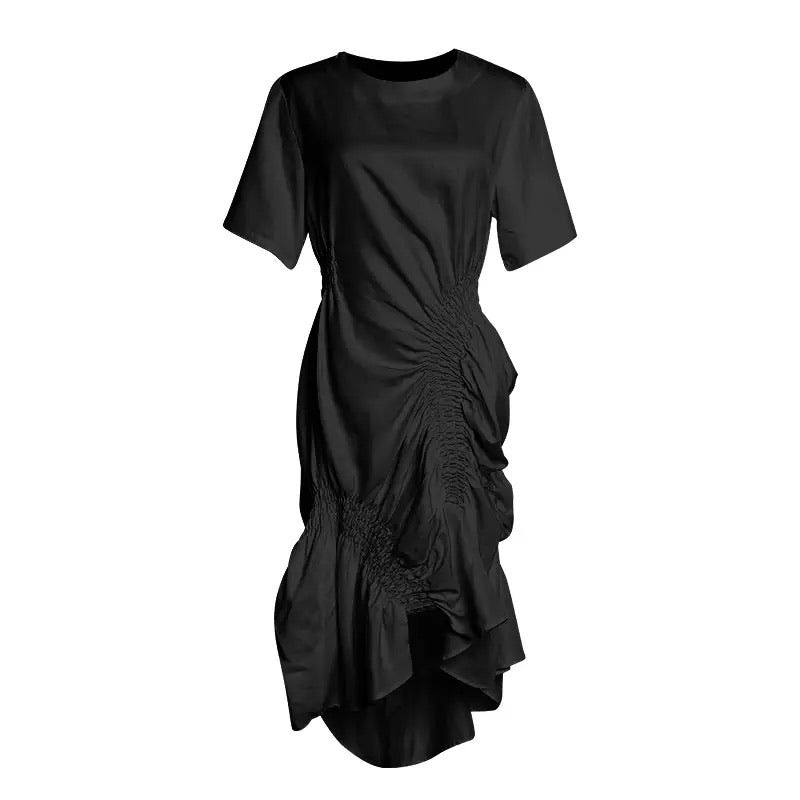 Black Elastic Ruched Asymmetrical Dress - BEYAZURA.COM
