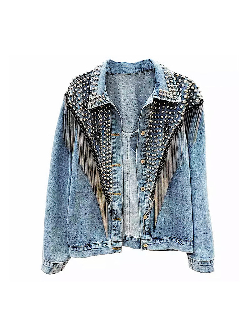 Blue Denim Studded and Fringed Jacket - BEYAZURA.COM