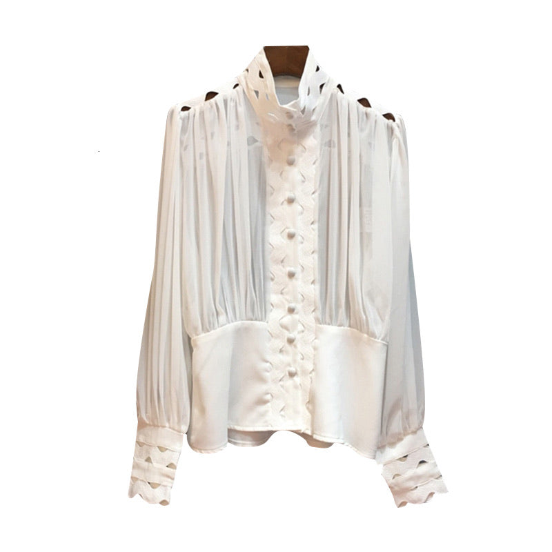 Cut Out Ruched High Neck Shirt - Beyazura.com
