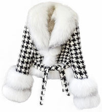Load image into Gallery viewer, Houndstooth White Fox Fur Trim Belted Wool Jacket - BEYAZURA.COM