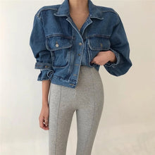 Load image into Gallery viewer, Elastic Waist Denim Jacket With Big Pockets - BEYAZURA.COM