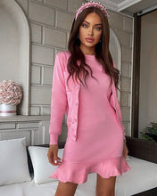Load image into Gallery viewer, Ribbed Knit Flared Hem Bodycon Dress and Cardigan Two Piece Set in Pink - BEYAZURA.COM