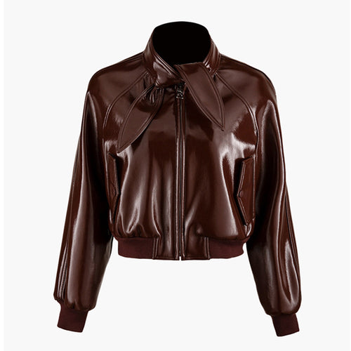 Faux Leather Bow Tie Neck Jacket in Burgandy - BEYAZURA.COM