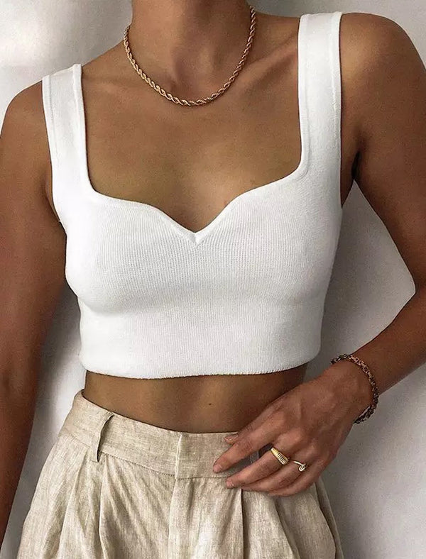 Basic Knitted Sleeveless Crop Top - Beyazura.com