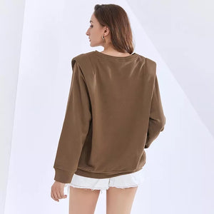 Brown Padded Shoulder Long Sleeve Knitted Pullover - BEYAZURA.COM
