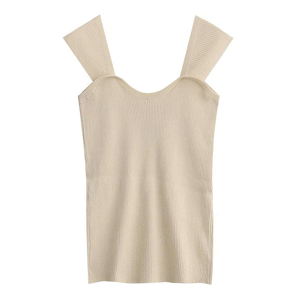 Beige Rib Knit Short Stretchy Top - Beyazura.com