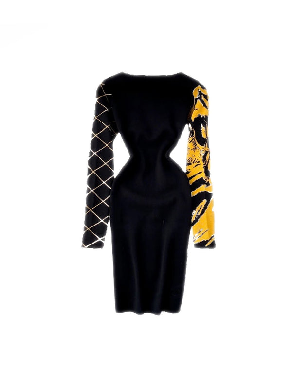 Animal Print Jacquard Knit Sweater Dress - Beyazura.com