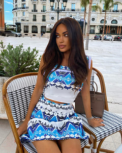 Embroidery Print Top And Skirt Two Piece Set - BEYAZURA.COM