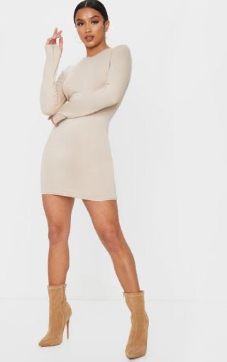PLT Stone Jersey Thumb Hole Long Sleeve Dress - Beyazura.com